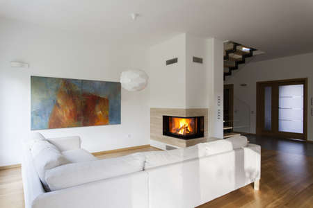 Bright living room with fireplace, stylish house photo