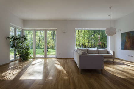 cosy: Spacious living room with overlooking to garden Stock Photo