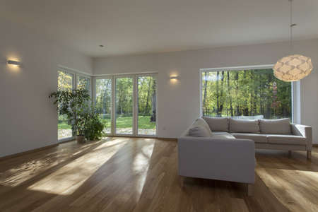 large windows: Spacious and contemporary living room, new house