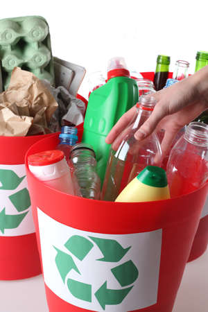 Recycling baskets- plastic, glass and paper segregation, isolated Stock Photo - 16250997
