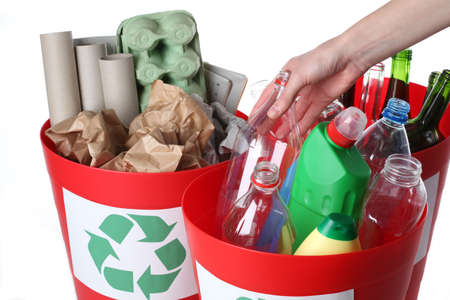 segregation: Recycling baskets- plastic, glass and paper segregation, isolated Stock Photo