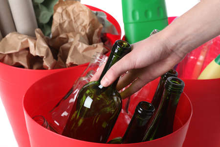 Closeup of recycle bins, putting glass bottle Stock Photo - 16250998