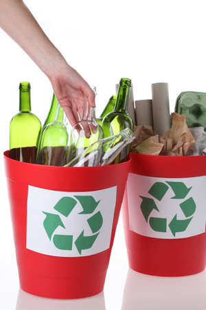 recycle sign: Environmental care- putting glass bottles into recycling bin