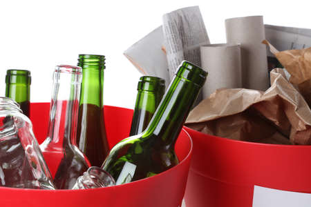 Recycling garbage: glass bottles and paper, closeup Stock Photo - 16250991