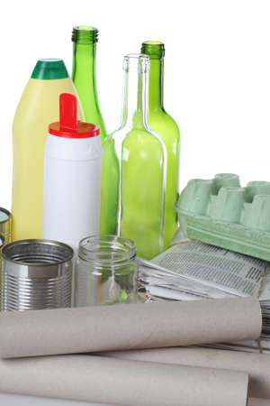 Metal, glass, paper and plastic ready for recycling Stock Photo - 16302977