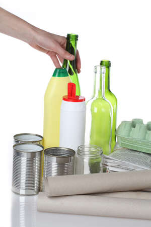 Glass and plastic bottles, newspapers and tins Stock Photo - 16302973