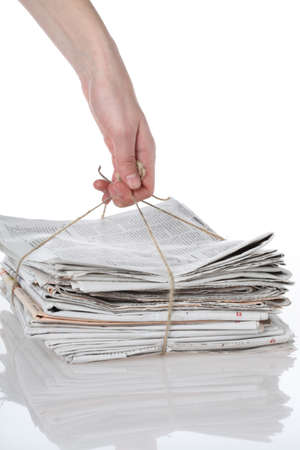 bundles: Heap of paper tied with string, isolated Stock Photo
