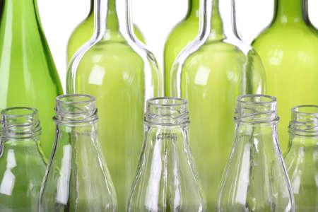 botellas vacias: Cierre de vidrio para reciclar, fondo
