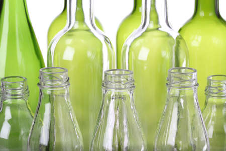 green glass bottle: Close up of glass for recycling, background