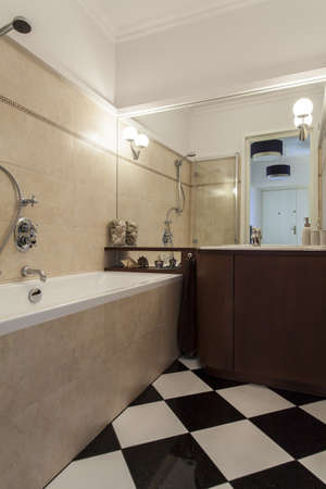 well equipped: Vertical view of bathroom in elegant new style