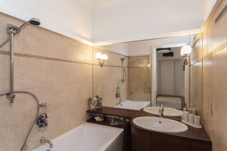 well equipped: Horizontal view of elegant bathroom