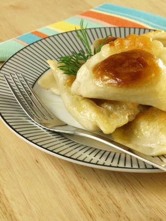 pierogi: Original Polish Christmas dish - pierogi, closeup Stock Photo