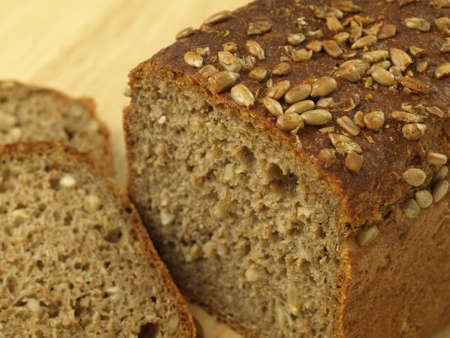 wholemeal: Loaf of wholemeal bread cut in slices Stock Photo