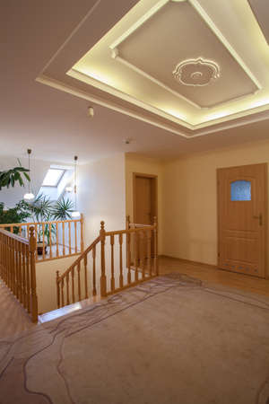 Second floor of new house, wooden staircase Stock Photo - 16643820
