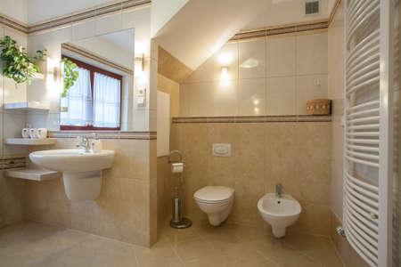 bidet: Toilet and bidet in a creamy new bathroom