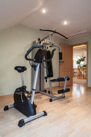 Gym equipment in modern and big house photo