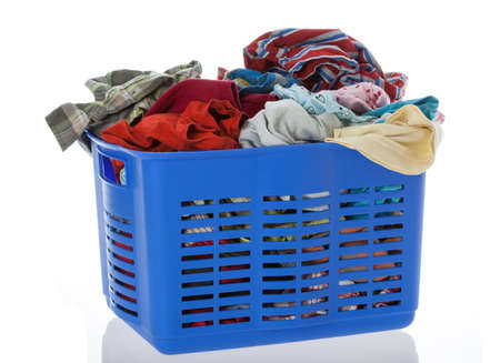 Lots of laundry in blue container Stock Photo - 16685380
