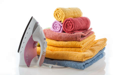 household tasks: Colorful, cotton towels and iron