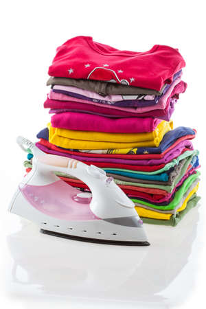 Iron and arranged composition clothes, isolated