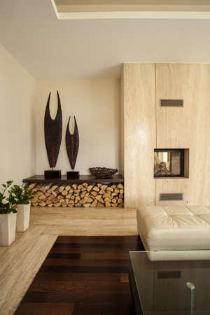 Travertine house  Vertical view of living room interior photo