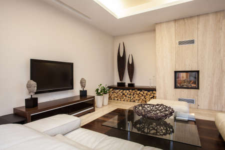 Travertine house  Bright and pleasant living room in house photo