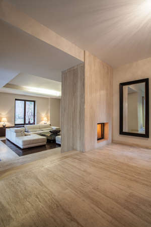Travertine house  Vertical view on entrance to living room photo