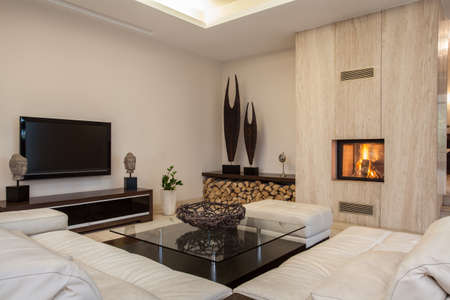 Travertine house  Interior of bright spacious living room photo