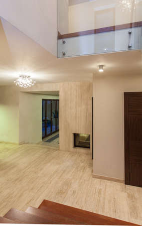 Travertine house - view of hallway from a staircase Stock Photo - 16841904