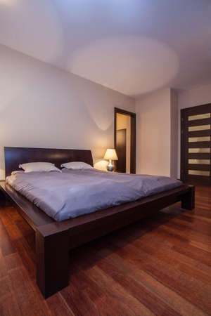 Travertine house - vertical view of the bedroom Stock Photo - 16906395