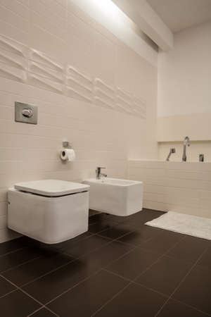 Travertine house - toilet and bidet in a cosy bathroom  photo