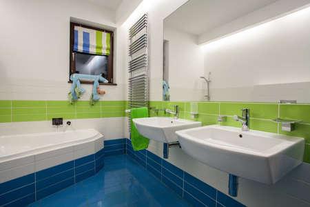Travertine house - children's bathroom in beautiful colors Stock Photo - 16906366
