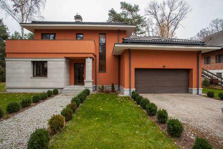 contemporaneous: Travertine house - facade of modern house, horizontal view