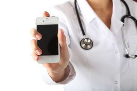 emergency number: Physician s hand with mobile phone, isolated