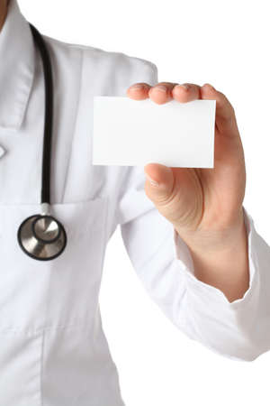 Physician s hand with business card, isolated Stock Photo