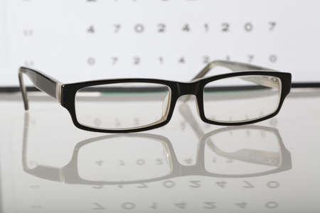Eyes examination - glasses on eye chart, closeup photo
