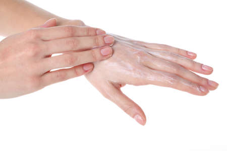 Cream hands with moisturizer, isolated white background photo