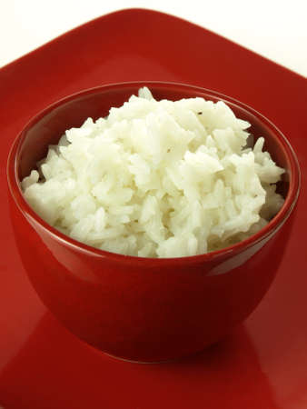 Chinese rice served in the red bowl photo