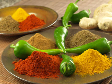 Closeup of plate with various hindu spices Stock Photo - 17090903
