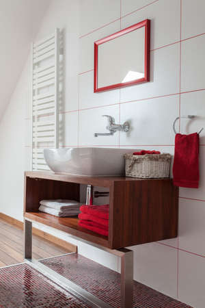 Ruby house - Contemporary ceramic wash basin in bathroom, modern interior photo