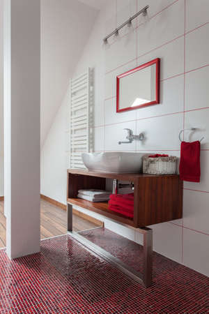ruby house: Ruby house - Modern bathroom: washbasin on a couter top Stock Photo