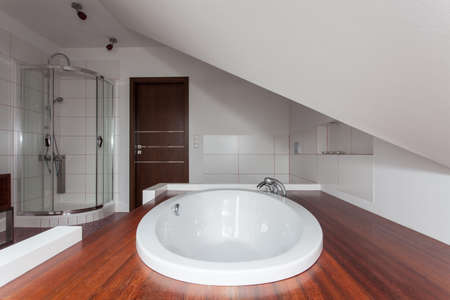 ruby house: Ruby house - Drop in bathtub in modern original bathroom Stock Photo