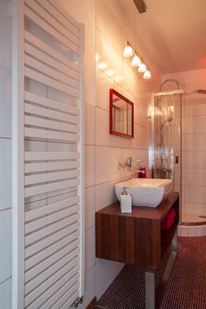 ruby house: Ruby house - Heater, wash basin and shower in modern bathroom Stock Photo