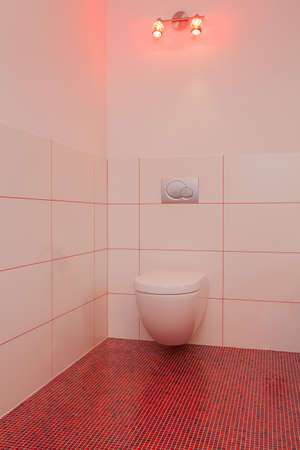 well equipped: Ruby house - Toilet room in red and white house Stock Photo