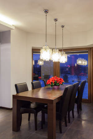 Ruby house - Wooden table in dining room, modern interior photo