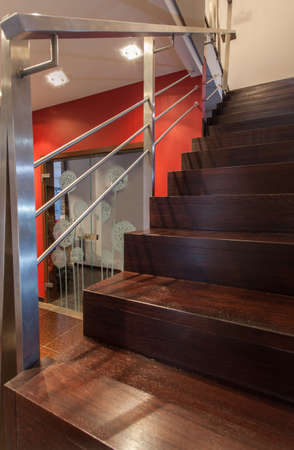 stair well: Ruby house - Wooden staircase in modern hallway