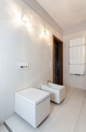 ruby house: Ruby house - toilet and bidet in white bathroom