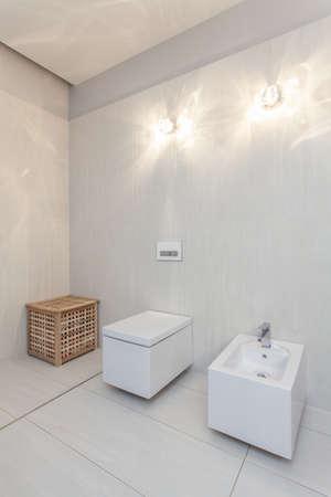bidet: Ruby house - toilet and bidet in white bathroom