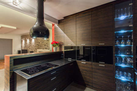 ruby house: Ruby house - brown wooden kitchen furniture, modern interior Stock Photo