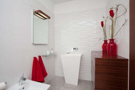 Cloudy home - white bathroom with red decoration Stock Photo - 17220931