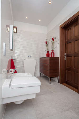 Cloudy home - small but well-developed bathroom interior Stock Photo - 17220939